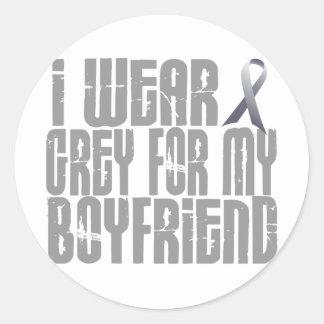 I Wear Grey For My BOYFRIEND 16 Classic Round Sticker