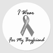 I Wear Grey For My Boyfriend 1 Brain Cancer Classic Round Sticker