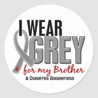 I Wear Grey For My Brother 10 Diabetes Classic Round Sticker