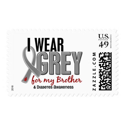 I Wear Grey For My Brother 10 Diabetes Stamps