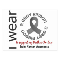 I Wear Grey For My Brother-In-Law 17 Brain Cancer Postcard