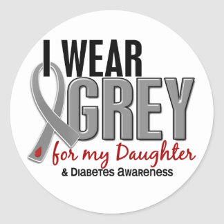 I Wear Grey For My Daughter 10 Diabetes Classic Round Sticker
