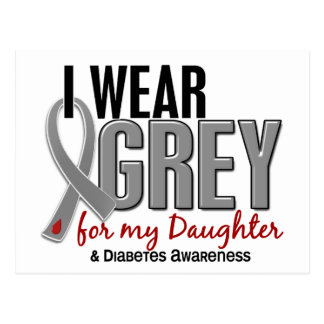 I Wear Grey For My Daughter 10 Diabetes Postcard