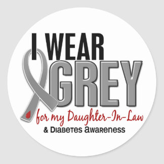 I Wear Grey For My Daughter-In-Law 10 Diabetes Classic Round Sticker
