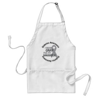 I Wear Grey For My Daughter Support Diabetes Awar Adult Apron