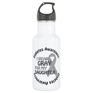 I Wear Grey For My Daughter Support Diabetes Awar Stainless Steel Water Bottle