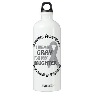 I Wear Grey For My Daughter Support Diabetes Awar Water Bottle