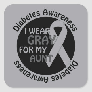 I Wear Grey For My Diabetes Support Diabetes Awar Square Sticker