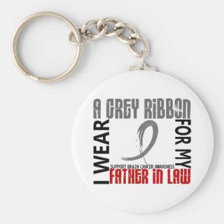 I Wear Grey For My Father-In-Law 46 Brain Cancer Keychain