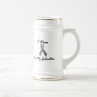 I Wear Grey For My Godmother 1 Brain Cancer 18 Oz Beer Stein