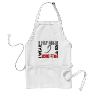 I Wear Grey For My Grandfather 46 Brain Cancer Adult Apron
