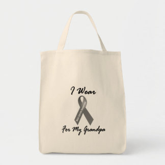 I Wear Grey For My Grandpa 1 Brain Cancer Grocery Tote Bag