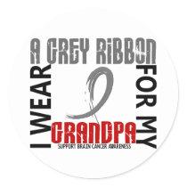 I Wear Grey For My Grandpa 46 Brain Cancer Classic Round Sticker