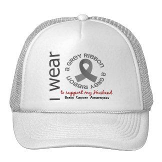 I Wear Grey For My Husband 17 Brain Cancer Mesh Hat
