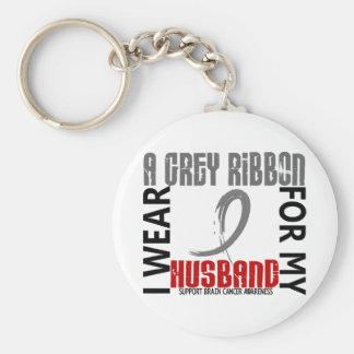 I Wear Grey For My Husband 46 Brain Cancer Key Chains