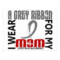 I Wear Grey For My Mom 46 Brain Cancer Postcard