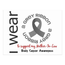 I Wear Grey For My Mother-In-Law 17 Brain Cancer Postcard