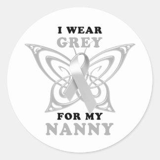 I Wear Grey for my Nanny Classic Round Sticker