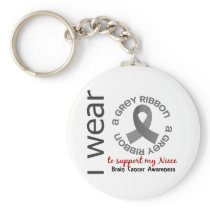 I Wear Grey For My Niece 17 Brain Cancer Keychain