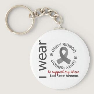 I Wear Grey For My Niece 17 Brain Cancer Keychain