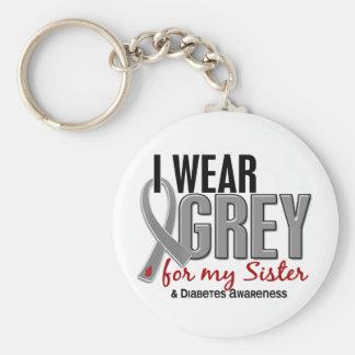I Wear Grey For My Sister 10 Diabetes Keychain