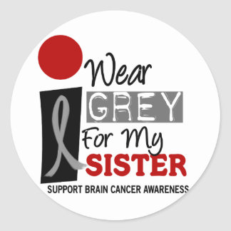 I Wear Grey For My Sister 9 BRAIN CANCER Gifts Classic Round Sticker