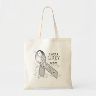 I Wear Grey for my Sister Canvas Bags