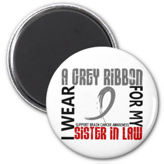 I Wear Grey For My Sister-In-Law 46 Brain Cancer 2 Inch Round Magnet