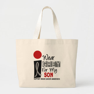 I Wear Grey For My Son 9 BRAIN CANCER T-Shirts Large Tote Bag