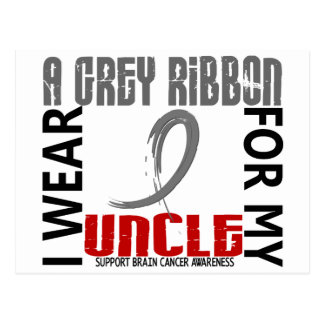 I Wear Grey For My Uncle 46 Brain Cancer Postcard