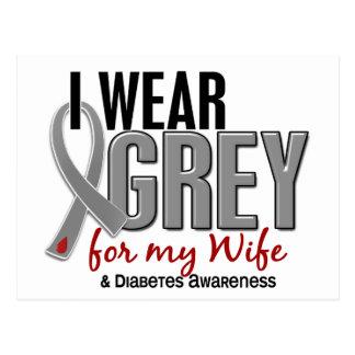 I Wear Grey For My Wife 10 Diabetes Postcard