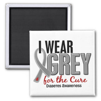 I Wear Grey For The Cure 10 Diabetes Fridge Magnets