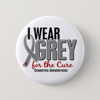 I Wear Grey For The Cure 10 Diabetes Pinback Button