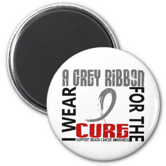 I Wear Grey For The Cure 46 Brain Cancer 2 Inch Round Magnet