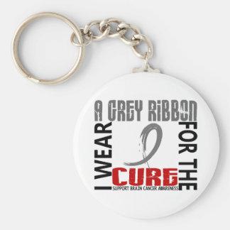 I Wear Grey For The Cure 46 Brain Cancer Key Chain