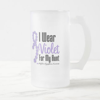 I  Wear Hodgkins Lymphoma Ribbon For My Aunt 16 Oz Frosted Glass Beer Mug