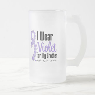 I Wear Hodgkins Lymphoma Ribbon For My Brother 16 Oz Frosted Glass Beer Mug