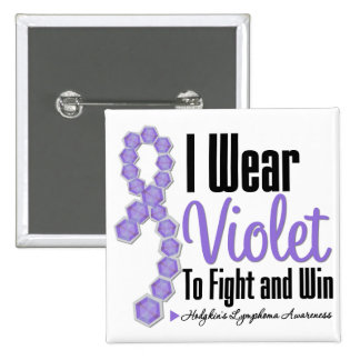 I Wear Hodgkins Lymphoma Ribbon To Fight and Win 2 Inch Square Button