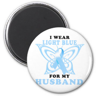 I Wear Light Blue for my Husband 2 Inch Round Magnet