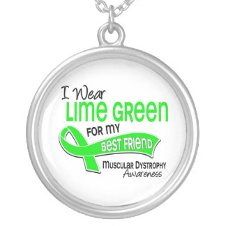 I Wear Lime 42 Best Friend Muscular Dystrophy Round Pendant Necklace