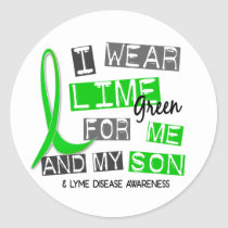 I Wear Lime Green 37 Me and My Son Lyme Disease Classic Round Sticker