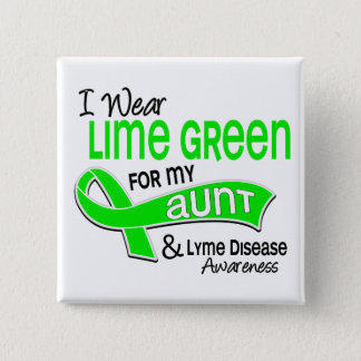 I Wear Lime Green 42 Aunt Lyme Disease Pinback Button
