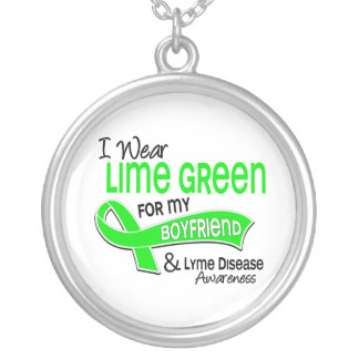I Wear Lime Green 42 Boyfriend Lyme Disease Round Pendant Necklace