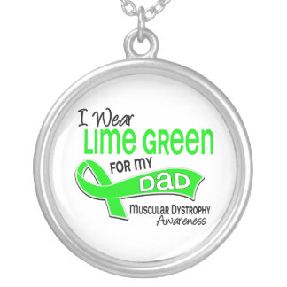 I Wear Lime Green 42 Dad Muscular Dystrophy Necklace