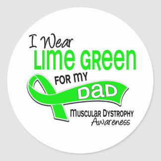I Wear Lime Green 42 Dad Muscular Dystrophy Round Stickers