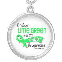 I Wear Lime Green 42 Daddy Lymphoma Silver Plated Necklace
