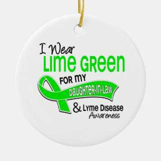 I Wear Lime Green 42 Daughter-In-Law Lyme Disease Christmas Tree Ornaments