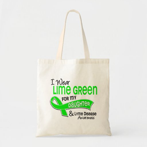 I Wear Lime Green 42 Daughter Lyme Disease Budget Tote Bag
