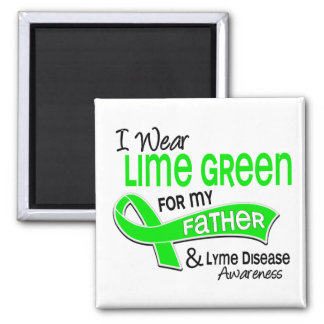 I Wear Lime Green 42 Father Lyme Disease 2 Inch Square Magnet