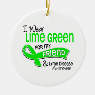 I Wear Lime Green 42 Friend Lyme Disease Double-Sided Ceramic Round Christmas Ornament